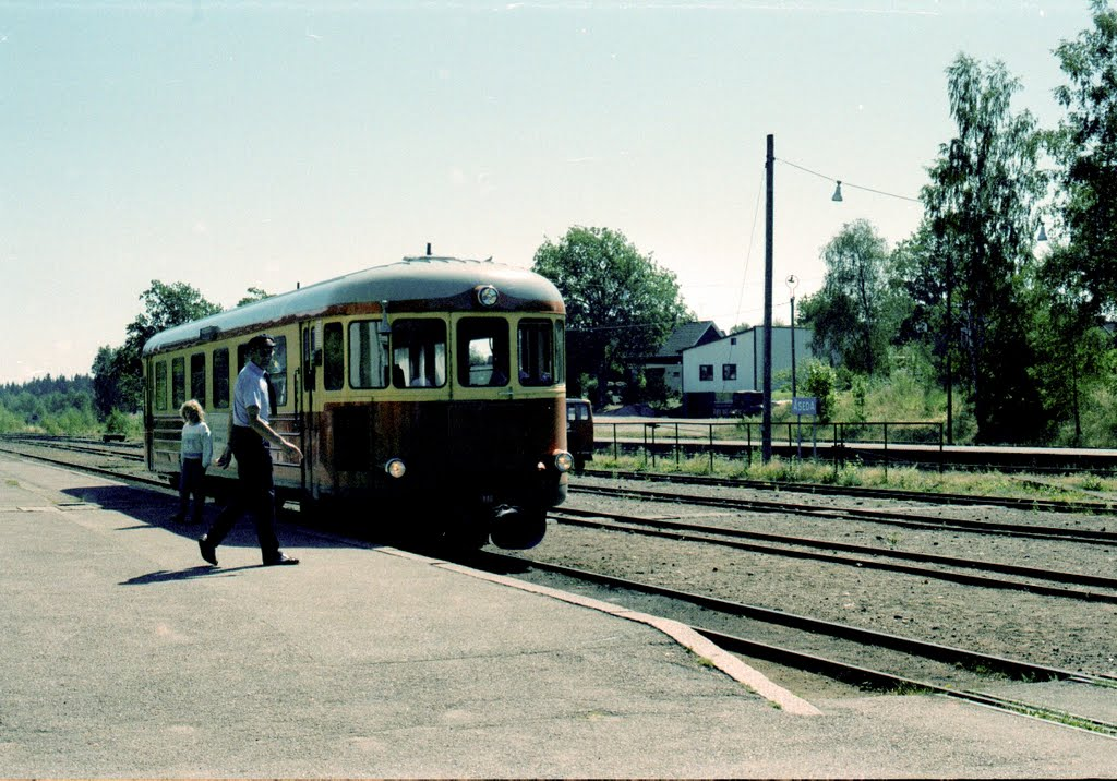 Rälsbusståg vid plattform i Åseda